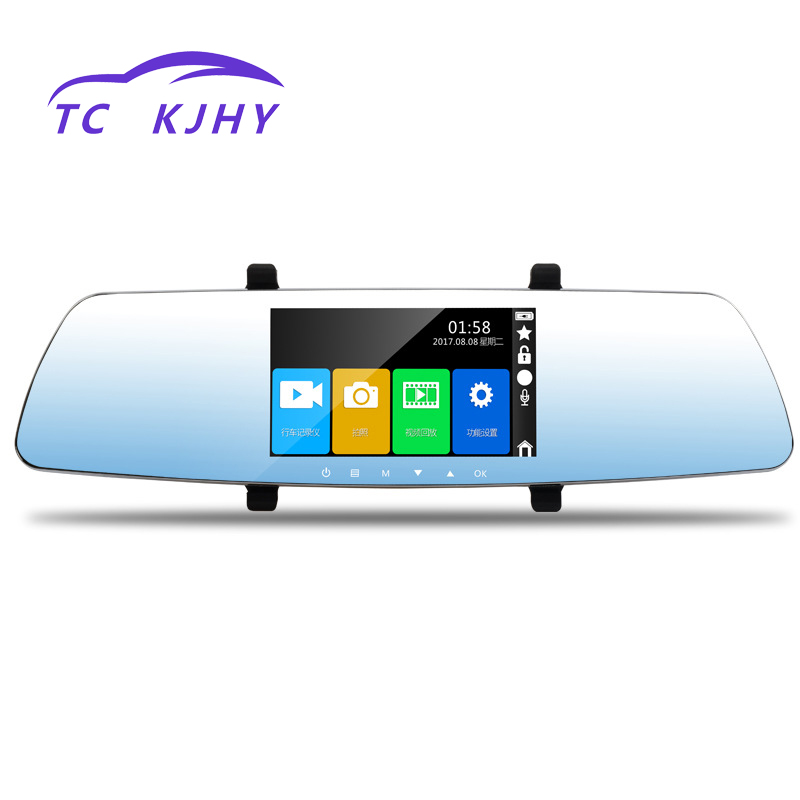 2018 Auto 1080P Dual Camera 5 Inch Touch Screen Dash Cam Car DVR Hidden Driving Recorder Reversing Image Parking Monitoring