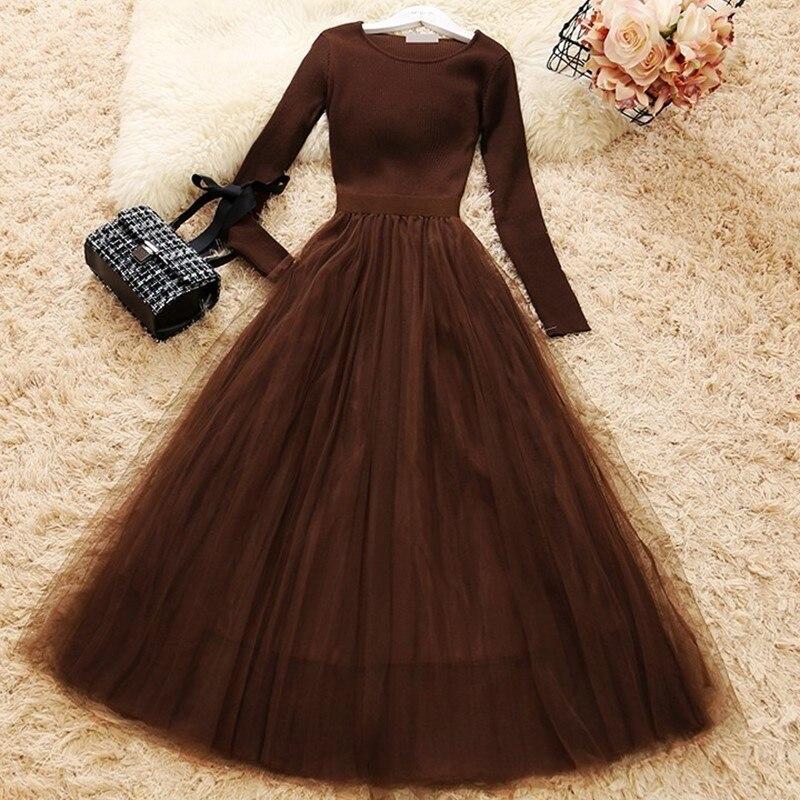 Feminino malha malha retalhos vestido de manga longa vestido de baile elegante mulher casual malha a-line vestidos wq1286 dropship