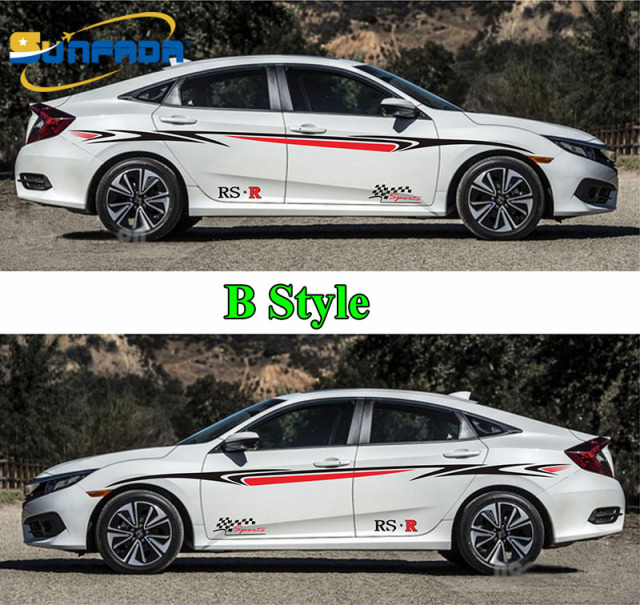 Sunfada newest sport style car body decal car stickers for honda civic 8th 9th 10th gen