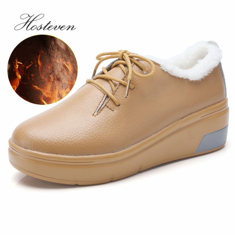 Hosteven Women Shoes Sneaker Flat Moccasins Loafers Oxfords Boat Cow   Suede     Leather   Plush Fur Spring Autumn Female Ladies Shoe
