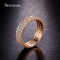 NEWBARK Simple Style Ring 3 Rows Micro Zirconia Paved Anel 6mm Wide Round Wedding Rings For Women Christmas Gifts