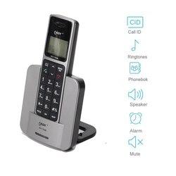 Russo inglês língua digital telefone sem fio com alto-falante mudo alarme lcd backlight casa telefone fixo sem fio azul
