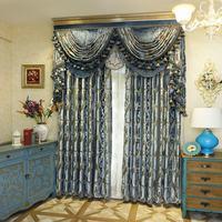 High End European Work Jacquard Knit Window Blackout Curtain For Living Room Bedroom Hotel Villa Blue