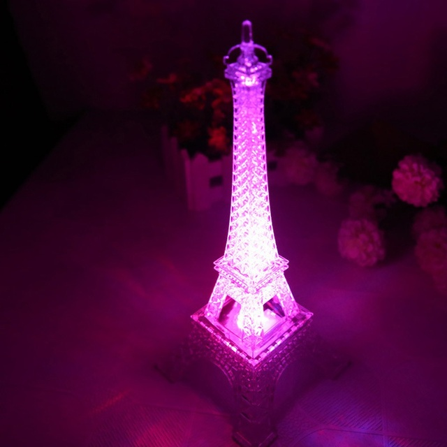 Amazing 2017 Fashion Eiffel Tower Night Light Colorful LED Lamp In Bedroom Wedding  Decoration Home Accessories Party