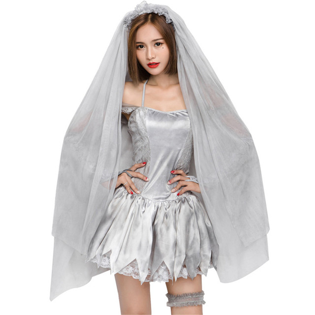 Halloween Bride.Us 20 74 35 Off Women S Dead Beauty Ghost Bride Costume Corpse Bridal Costumes For Halloween Veil Dress In Holidays Costumes From Novelty