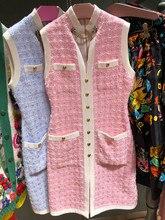 High quality women's elegant sleeveless spring 2019 spring slim fit tweed dress A255