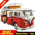 Dhl 1354 unids lepin 21001 creador volkswagen t1 camper van kits de edificio modelo conjunto juguetes de los ladrillos compatible 10220