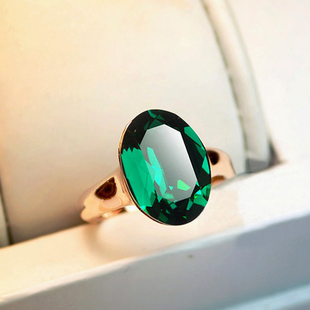 emerald on rings classic big square jewelry gold zirconia white women plated stone accessories fashion from cubic green color ring in item brilliant