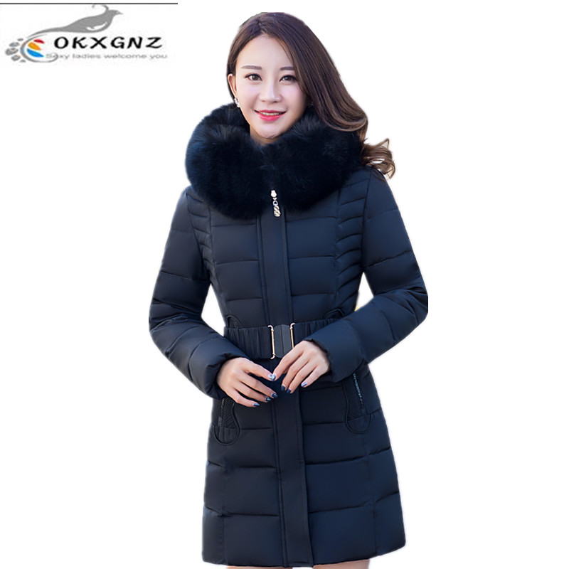 OKXGNZ 2017 New Winter Women Cloth Fashion Coat Hooded Fur Collar Thicken Big Yards Cotton Jacket leisure Wind Women  Coat A011 women winter coat leisure big yards hooded fur collar jacket thick warm cotton parkas new style female students overcoat ok238