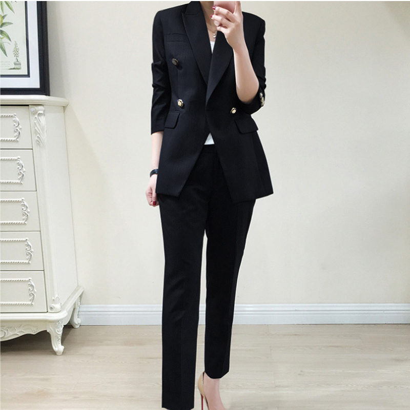 Casual Work Solid Women Pant Suits Notched Collar Blazer Jacket Pencil Pant Black Female Suit Spring