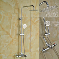 Wholesale And Retail Solid Brass Chrome 8 Round Rain Shower Head Thermostatic Valve Mixer Tap Handy