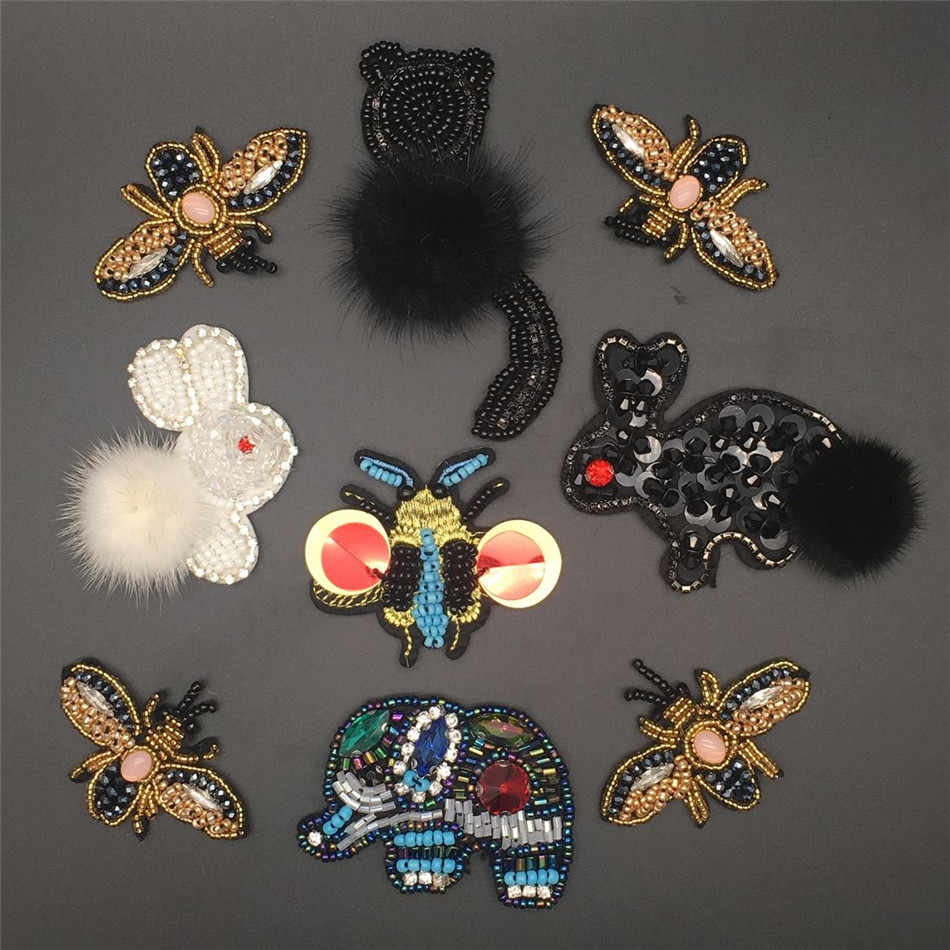 3D hand-stitched beaded cat, rabbit, elephant and bee are used in clothing accessories