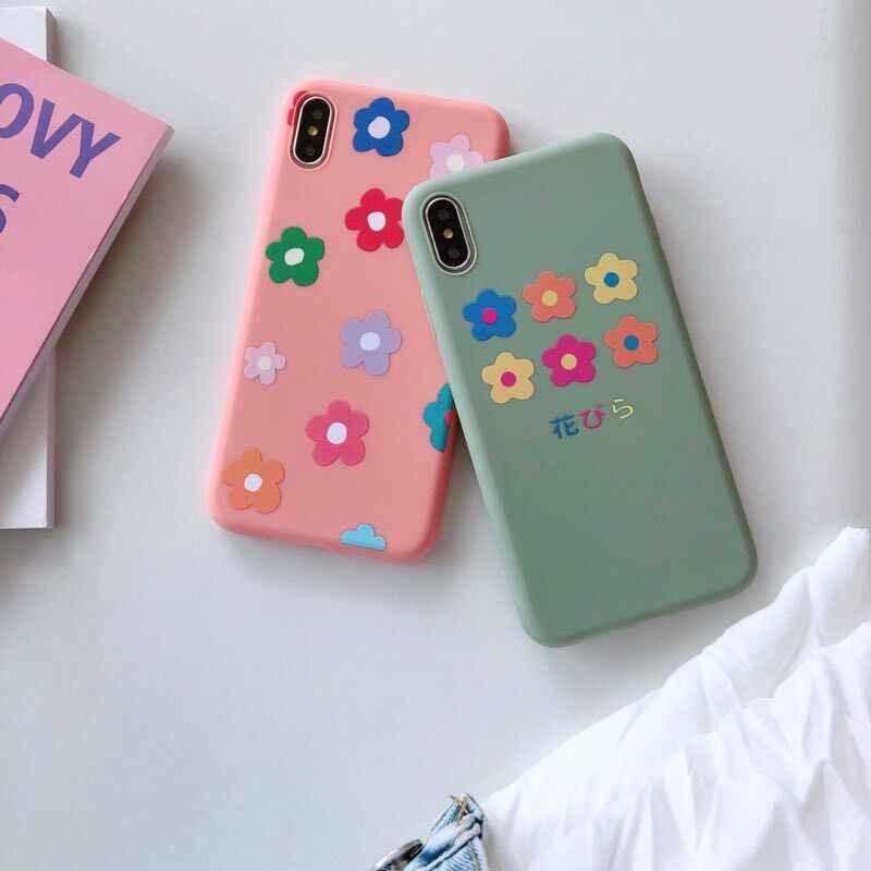かわいいガーリーデイジーの花プリン Iphone 10 6 6 s 7 8 プラス XS 最大 XR × 8 プラス 7 プラスソフトシリコンマットカバー 360 coque