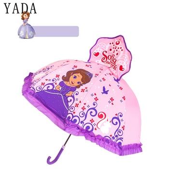 YADA 2-6 Year Old Design Cartoon Print 3D Princess Lace Umbrella Sun Rainy Cute Long Handle Boy Girl Kids Tools Umbrella YD048