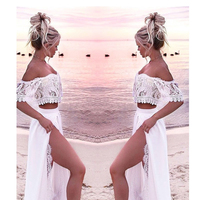 White Lace Beach Dress For Women Long Two Piece Beachwear Dresses 2019 Summer Sundresses Plus Size Dress Top Robe Blanche Dantel