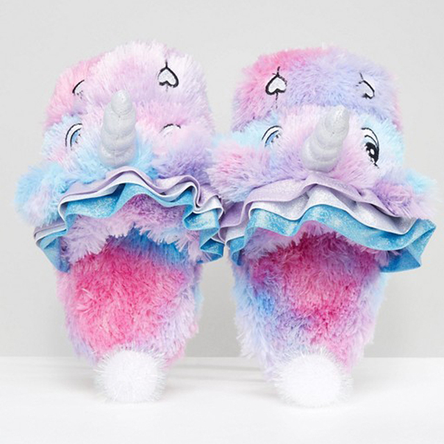 Soft Plush Unicorn Slippers