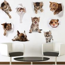 New Arrival 3D Cartoon Wall Sticker Cute Cat Dog Waterproof Refreigter Poster Removable Stickers Toilet Kitchen Room Home Decor