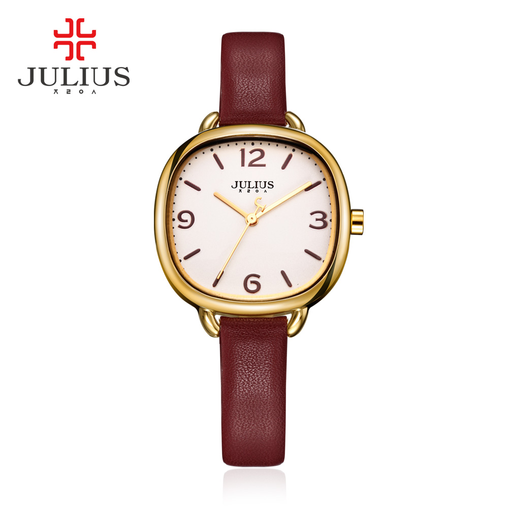 JULIUS Love Bracelet Watches Women Dress Fashion Leather Montres Waterproof Square Ladies Watches Top Brand Luxury