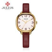 JULIUS Amor Pulsera de Cuero Relojes Mujeres se Visten de Moda Montres Impermeable Square Ladies Relojes de Lujo Superior Marca wacht JA-928