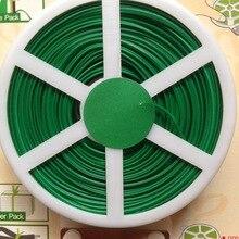 Купить с кэшбэком 1 Multipurpose Gardening Ties Green Plastic Coated Cable Ties Flowers Trees Zhasi Garden Tool Bag Plastic Roll 50M Packing Tool