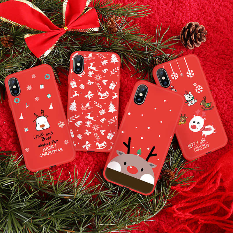 2019 Ano Novo Natal Case Para iPhone XR XS MAX Bonito Dos Desenhos Animados Papai Noel Do Natal Alces Capa Para iPhone X 7 8 6 6 s Mais Cobertura