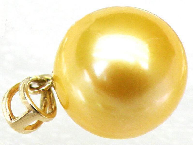 Подлинная 10 11 мм круглая золотисто желтая жемчужина с южным морем 14KGP Подвеска из желтого золота r