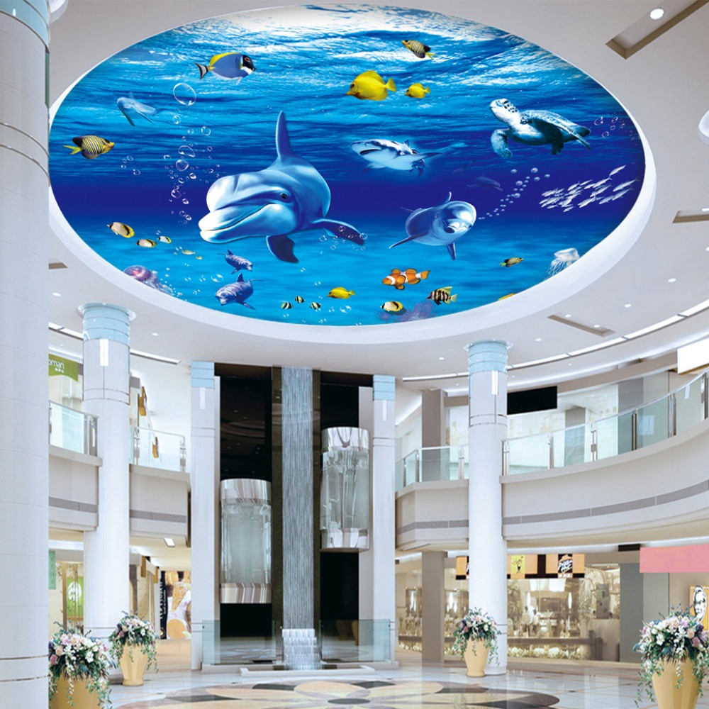 Custom 3D Photo Wall Paper Dolphin Fish Suspended Ceilings Fresco ...