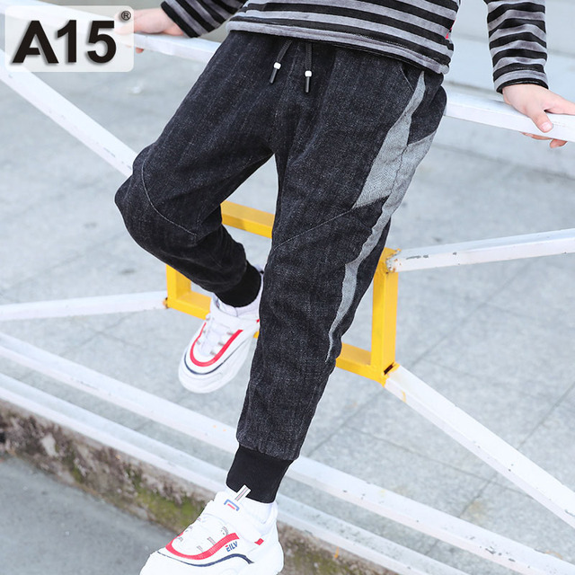 Kids Jeans Boys Jeans Long Length Pants Teenage Childrens Denim Trousers 2019 Spring Fall Fashion Designed Pants 7 9 10 12 Years