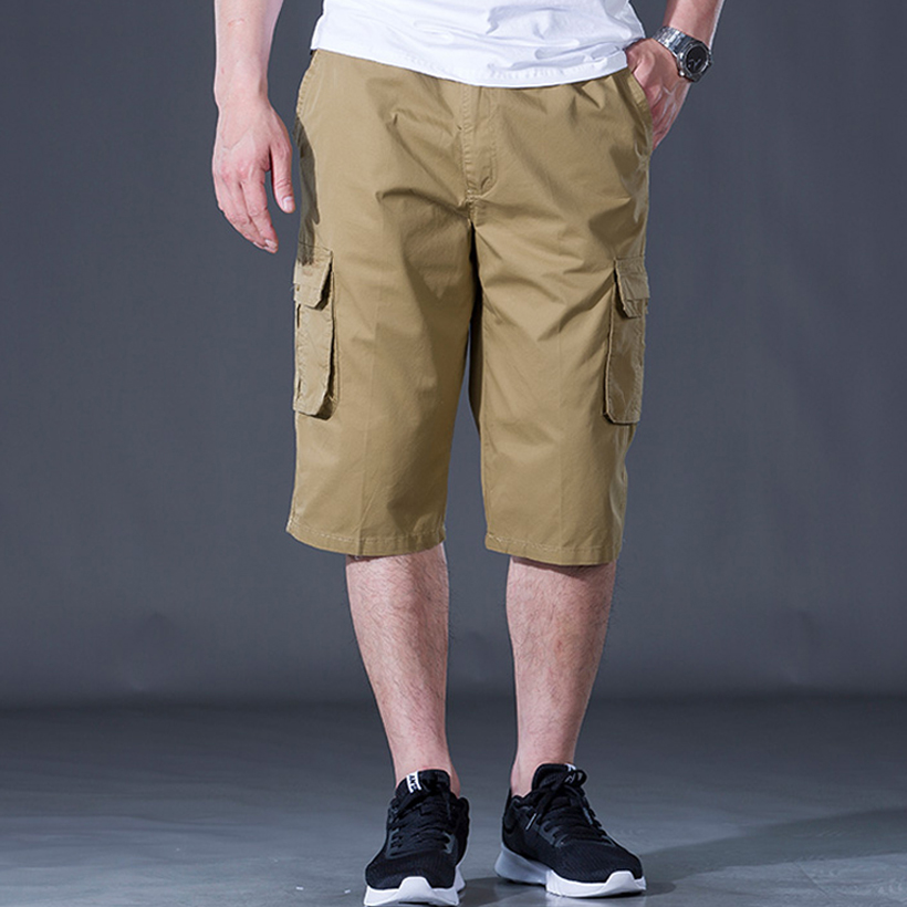 Summer Mens Shorts Casual Multi-pocket Overalls Boardshorts khaki army green dark gray Elastic waist Shorts men plus size cargo