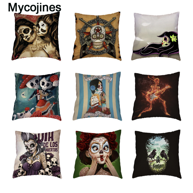 Funny Sugar Skull White Cushion Cover Mexican Style Flower Printed Home Decor Lumbar Support Gifts Peach Skin Throw Pillow Cases