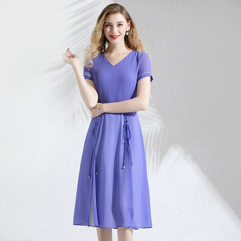 Mousseline de soie robe d'été femmes 2019 nouveau col en v à manches courtes solide couleur mince Bandage fendu robe plissée élégante genou longueur M-XXL