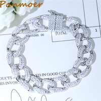 Бренд Мода Шарм 925 100% чистого серебра микро циркон тенденции моды Полный CZ браслет цепочка для женщин ювелирные браслеты женские подарок