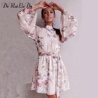 DeRuiLaDy Sexy Backless Lace Up Flower Print Chiffon Dress Women Flare Sleeve Summer Dresses Casual Beach
