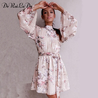 DeRuiLaDy Sexy Backless Lace Up Flower Print Chiffon Dress Women Flare Sleeve Summer Dresses Casual Beach