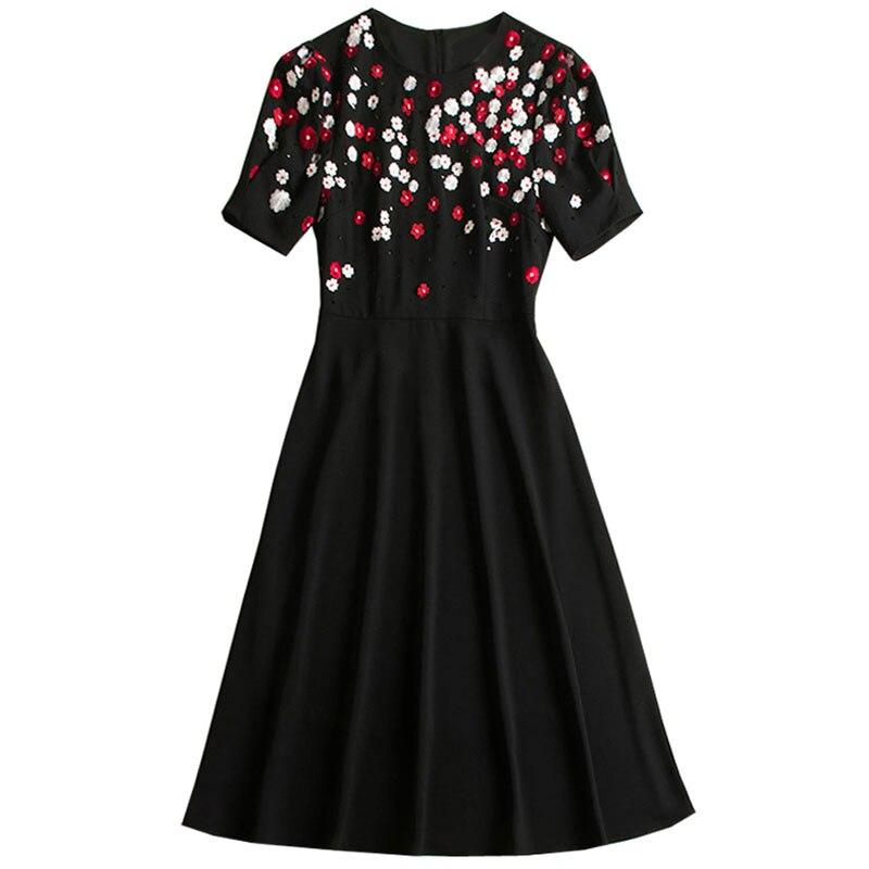 Red RoosaRosee Runway Beads Flower Embroidery Sequin Black Midi Dress Spring Summer 2019 Runway Women Party