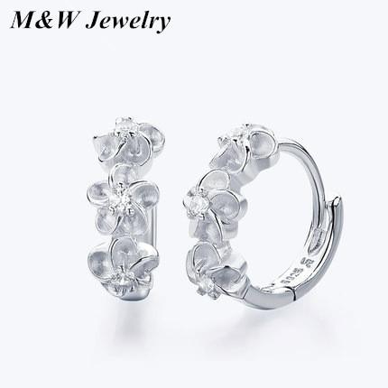 M&W Hot Fashion 925 Sterling Silver Fashion Plum Earrings Stud Earrings Jewelry M&WS1495