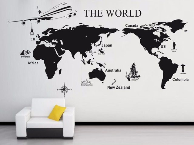World map carved large wall sticker home decor living room mural world map carved large wall sticker home decor living room mural diy vinyl quote poster art gumiabroncs Images