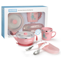 VALUEDER Baby Stainless Steel Feeding set with Baby Feeding Bowl Baby Spoon and Baby Cup as Gift Box