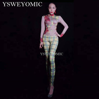 Yellow red print Nude Costume One piece Bodysuit Nightclub Stage Dance Wear Dance jumpsuit for women YSW6647