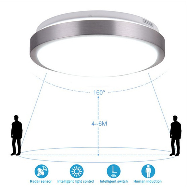 Радиолокационная индукция/Управление звуками светодиодные потолочные светильники современный блеск абажур из акрила для ванной комнаты, проход лестницы балкон потолочный светильник