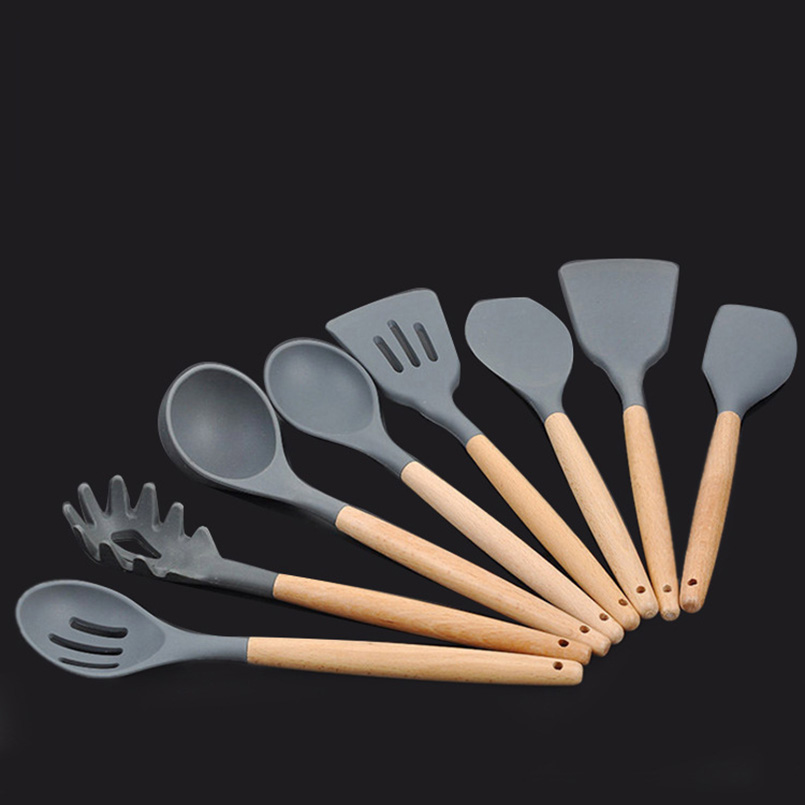 8pcs Food Grade Silicone Non stick Cooking Set Utensils Spatula Ladle Shovel Turner With Wooden Handle Cookware Kitchen Tools