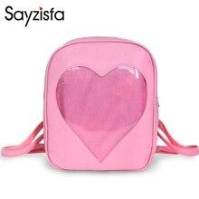 Sayzisfa Фирменная Новинка Для женщин рюкзак прекрасные дети makkalon конфеты прозрачный любовь сумки на плечо для девочек школьный рюкзаки T419