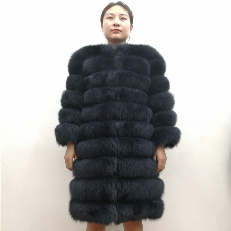 100% Natural Real Fox Fur Coat Women Winter Genuine Vest Waistcoat Thick Warm Long Jacket With Sleeve Outwear Overcoat plus size 15