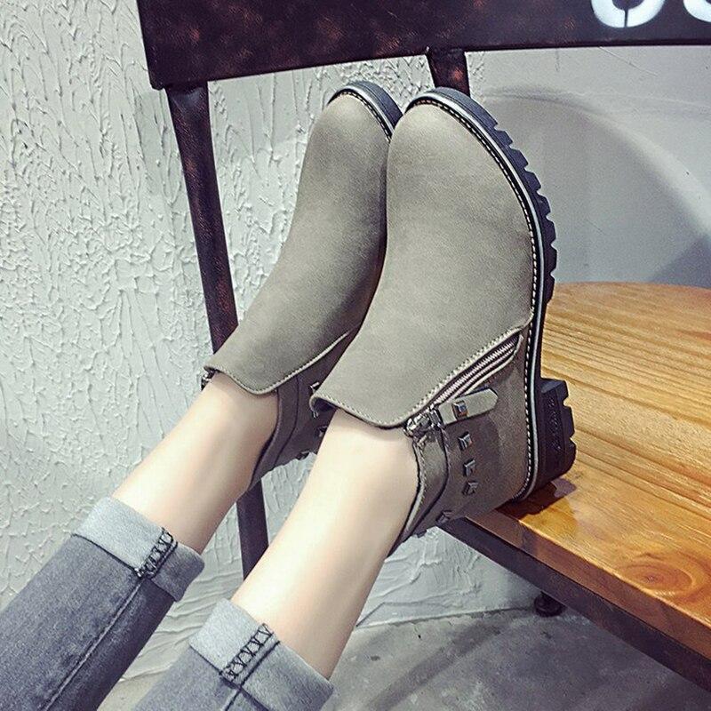 Casual Botines Coreano Cómodo Bajo Cortas Botas gris Mujeres Tacón Estilo Remaches Zapatos Negro Zip Otoño Trabajo Mujer q6HS5