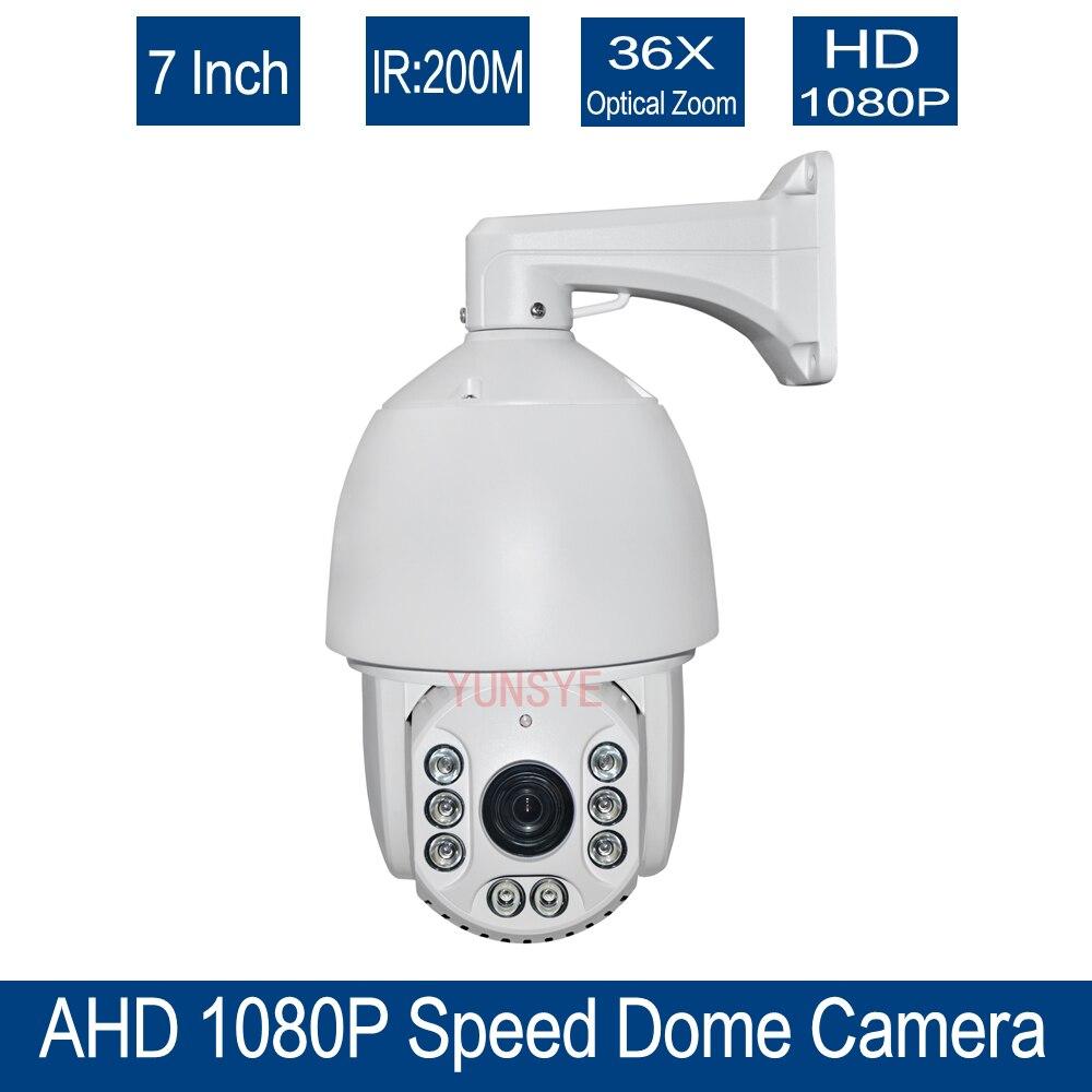 Бесплатная доставка 36x Оптический зум видеонаблюдения HD 1080 P 7 дюймов высокая Скорость купол AHD PTZ Камера Открытый ночного видения ИК-150 м AHD Ка...