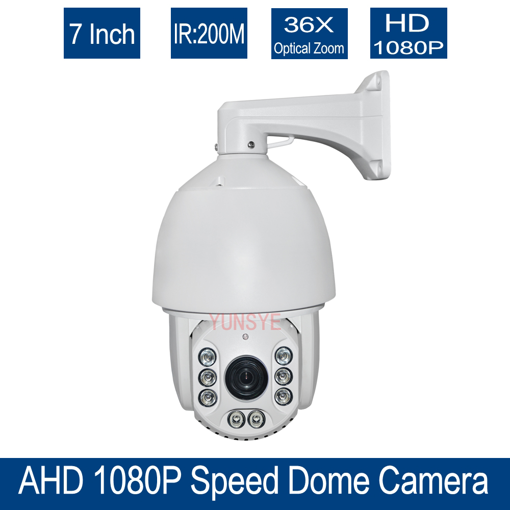 Free shipping 36x Optical Zoom CCTV HD 1080P 7 inch High Speed Dome AHD PTZ Camera Outdoor Nightvision IR 150M AHD CAMERA 1080P auto tracking ptz camera 7 inch ir speed dome camera ccd 700tvl 36x optical zoom ir 150m osd menu outdoor ptz camera