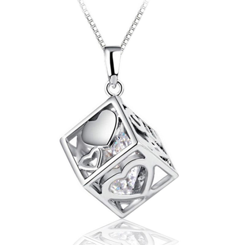 Hot Sale Love Hearts Hollow Square Pendant Female Fashion Silver plated Jewelry DIY Accessories NL 0832