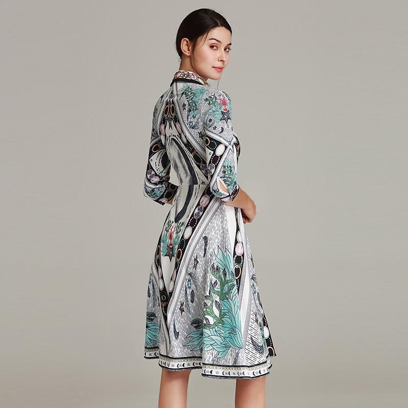 Vert Qyfcioufu Floral Qualité Fête Printemps Longueur Robe Piste Supérieure Perles Femmes Moitié Pour Genou 2019 Imprimé Mode De Manches SfSFPqwUr