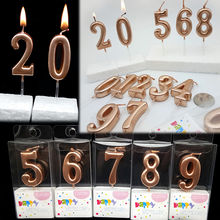 Happy Birthday Cake Topper Rose Gold Number Candles Birthday Cake Decoration for Princess Candy Bar Baby Shower Party(China)