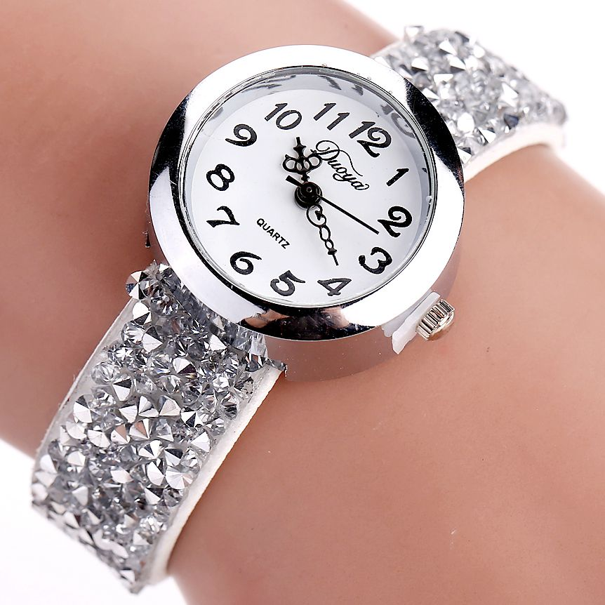 Duoya Brand Watches Women Fashion Crystal Rhinestone Bracelet Watch Ladies Quartz Luxury Vintage Women Watch Gift Dropshipping